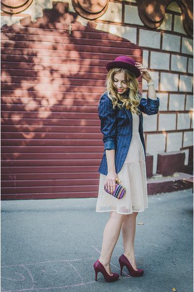 maroon new look hat - light pink the pony tail dress - navy H&M blazer