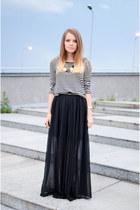 black H&M blouse - black H&M skirt - bronze H&M sandals