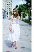 white vintage skirt - light pink suiteblanco bag - white pull&bear t-shirt