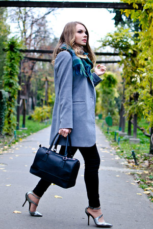 light blue New Yorker coat - black H&M pants - black Zara heels