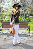 dark brown BLANCO hat - dark brown Vero Moda blazer - tawny Hermes bag