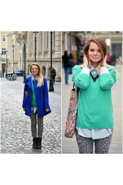 blue Lefties coat - turquoise blue H&M sweater - periwinkle Springfield shirt