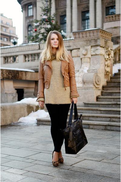 brown H&M scarf - tawny Bershka jacket - black H&M pants - dark brown H&M heels