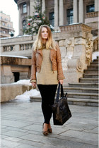 brown H&M scarf - tawny Bershka jacket - black H&M pants - dark brown H&M heels