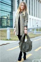 black Zara sandals - black Lefties dress - dark khaki New Yorker coat