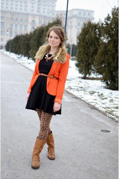 carrot orange Lefties coat - bronze Mustang boots - black Atmosphere dress