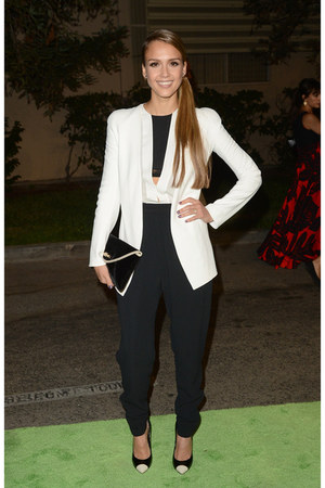 black Jimmy Choo purse - white narciso rodriguez blazer