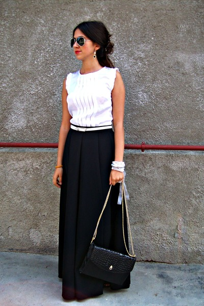 Long Black Skirt With White Blouse - Peach Chevron Blouse