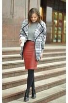 gray H&M jacket - brick red Zara skirt