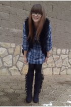 Zara vest - new look shirt - H&M boots