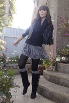 Concept club jacket - Stradivarious skirt - H&M socks - H&M boots - H&M scarf