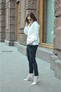 Black-zara-jeans-white-ovs-top
