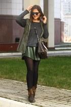 army green Zara skirt