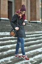 gray wool Mango coat - blue ripped Zara jeans - ruby red tartan H&M scarf