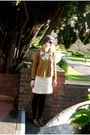 Brown-secondhand-cardigan-blue-secondhand-blouse-brown-secondhand-shoes-ye
