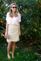 yellow Secondhand skirt - pink Vintage from Peachy Keen blouse - beige Vintage f