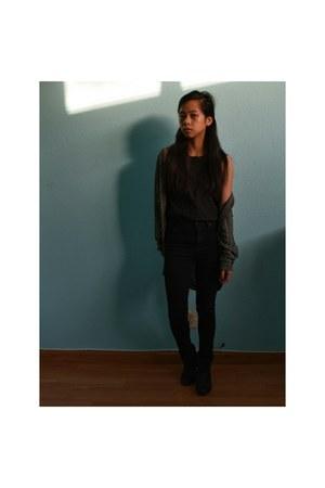 black Target boots - black high waisted BDG jeans - Forever 21 cardigan