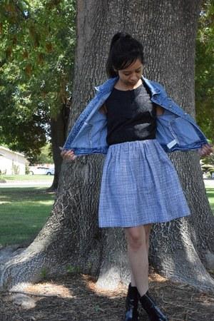 skirt - blue denim Forever 21 jacket - black H&M blouse