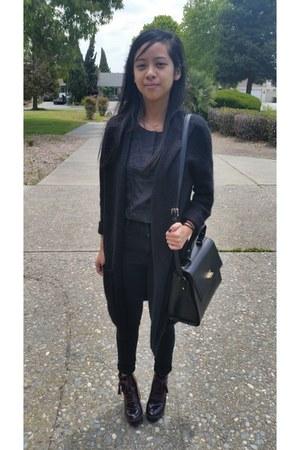 black BDG jeans - crimson Aldo boots - black leather kate spade bag