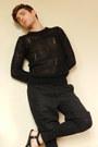 Black-leggings-black-shorts-black-sheer-jumper-black-sandals