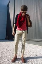 red snood Zara scarf - crimson oxfords Zara shoes - brown BLANCO bag