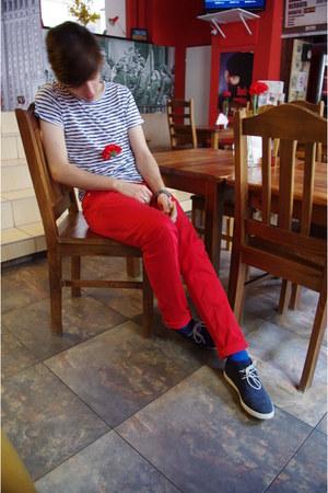 navy Zara shoes - blue H&M socks - ruby red shocking red H&M pants - navy stripe