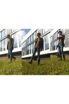 black Zara boots - denim Zara jeans - bronze Zara sweater - charcoal gray united