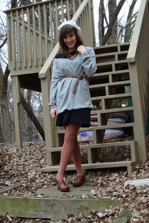 heather gray H&M sweater - black Old Navy dress - white Old Navy hat