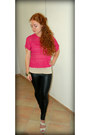 Black-faux-leather-kardashian-kollection-leggings-hot-pink-sears-jumper