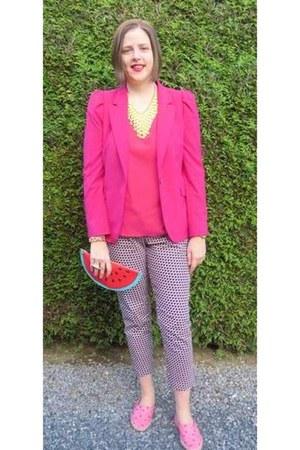 hot pink Zara blazer - bubble gum Topshop shoes - red Monki bag