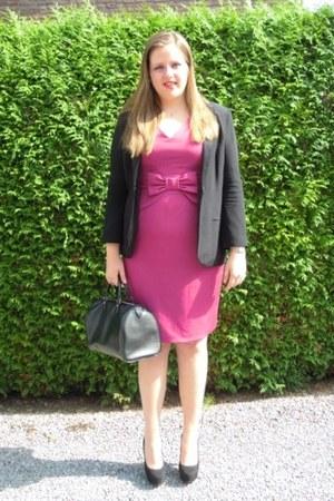 black Topshop jacket - pink Dorothy Perkins dress - black Louis Vuitton bag