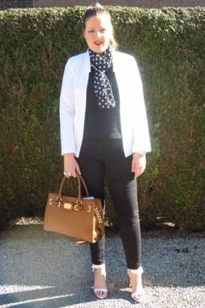 white asos blazer - black Zara shirt - black Local store scarf