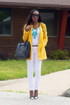yellow BB Dakota jacket - dark gray Celine bag - white JCrew top