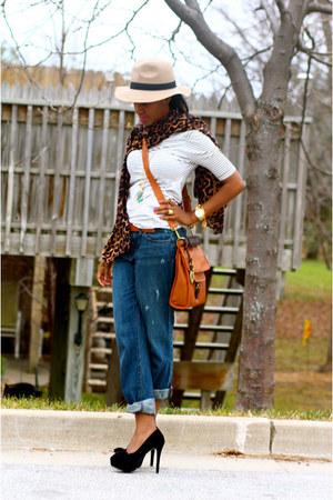 Loft jeans - Theodora & Callum scarf - Fossil bag - gianni bini pumps
