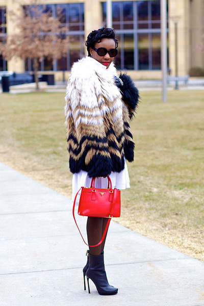 Theory coat - lanvin boots - pink tartan dress - Prada bag