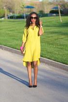 BCBG dress - tory burch bag - Prada sunglasses - Zara pumps