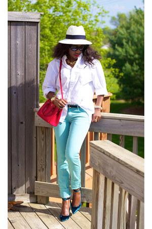 7 for Mankind wedges - Gap hat - JCrew shirt - Prada bag - Zara pants
