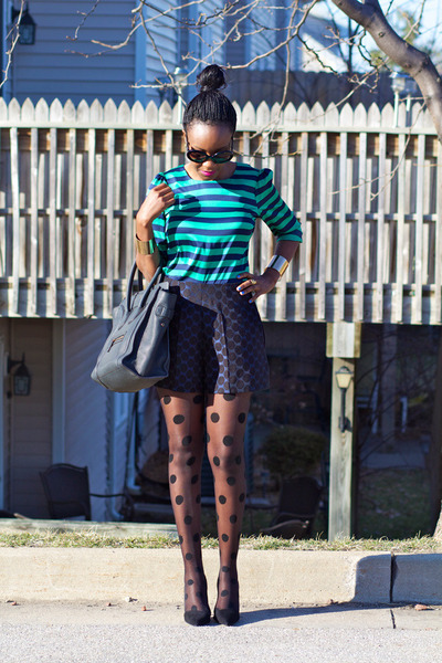 Vince Camuto top - black Express tights - Celine bag - navy asoscom shorts