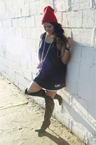 red thrifted hat - black Charlotte Russe boots - navy thrifted jersey dress
