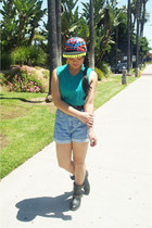 black diy hat - black Forever 21 boots - blue high waisted Levis shorts