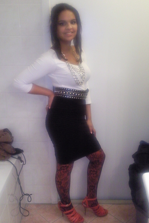 black Zara belt - black H&M skirt - silver H&M necklace - orange Zara tights - o