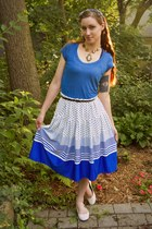 vintage skirt - blue delias t-shirt - Payless flats - European Trendy necklace