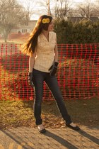 40s VINTAGE blouse - delias jeans - payless shoes - Target gloves - lila-jocom a