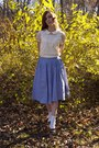 White-urban-outfitters-blouse-blue-urban-outfitters-skirt-dark-brown-thrifte