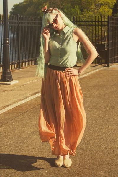 TOMS shoes - Forever 21 sunglasses - Ebay skirt - modcloth blouse