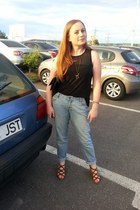 boyfriend style new look jeans - black H&M blouse - brown new look sandals