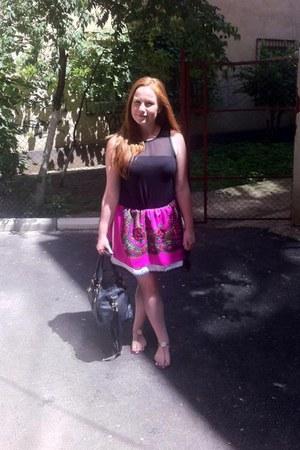 no name skirt - black leather Pimkie bag - black soft H&M blouse