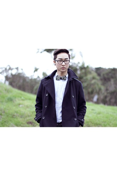 navy peacoat Gap jacket - dark gray diy bowtie accessories