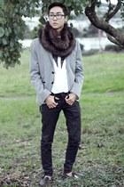 silver H&M blazer - black jeans - white H&M shirt
