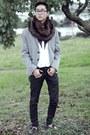 Black-jeans-silver-h-m-blazer-white-h-m-shirt